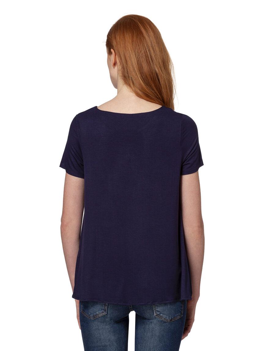 Camiseta de enfermagem azul e branca com mangas curtas - Prénatal
