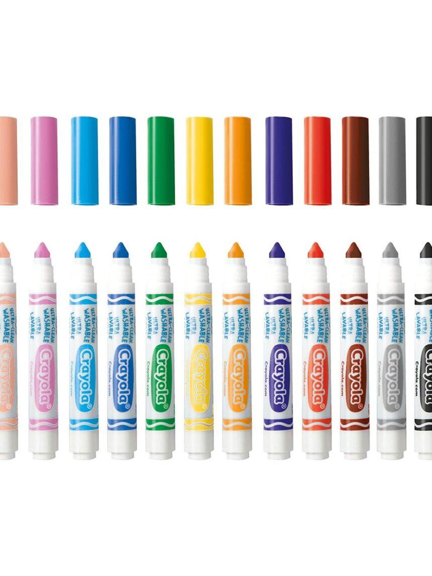 Crayola - 12 cores de maxi fibra ultra-laváveis - Crayola