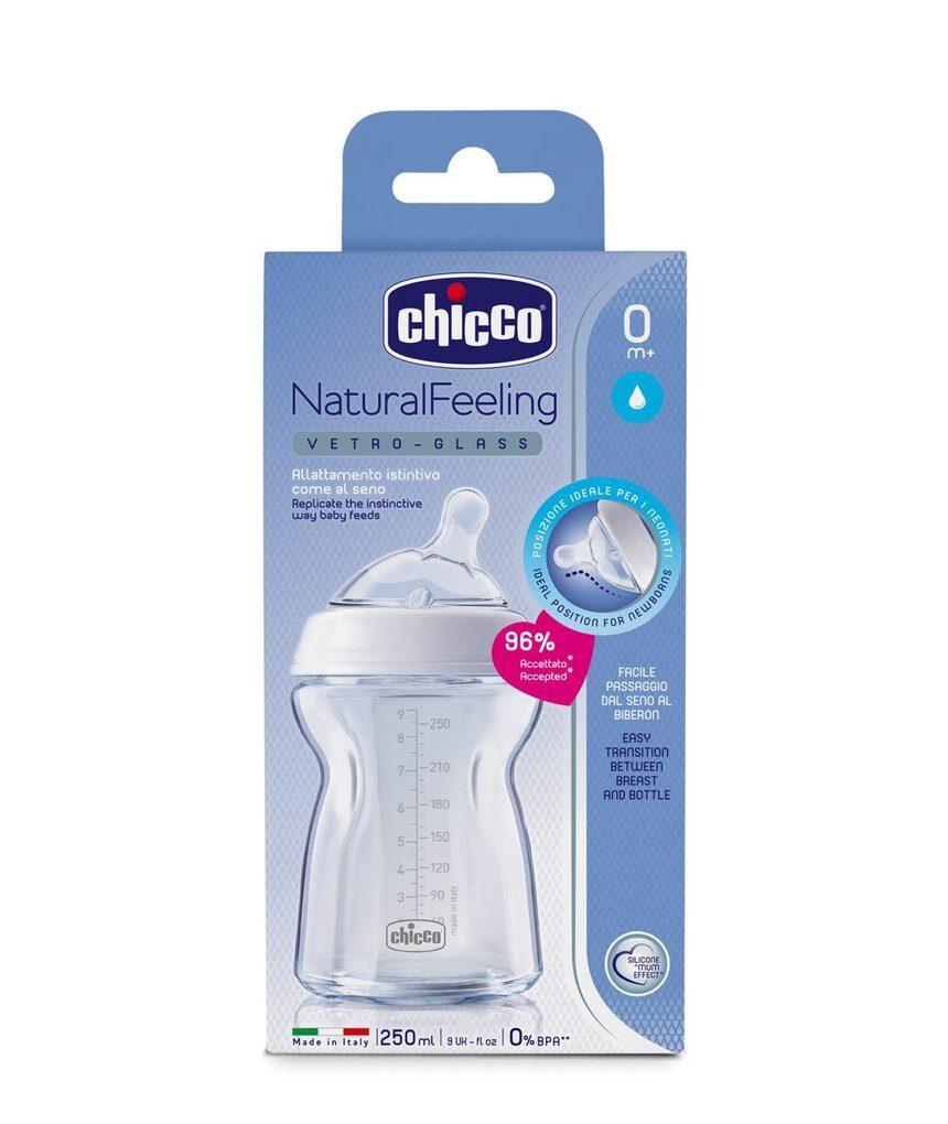 Frasco de sensação natural 0m + em vidro 250ml - Chicco