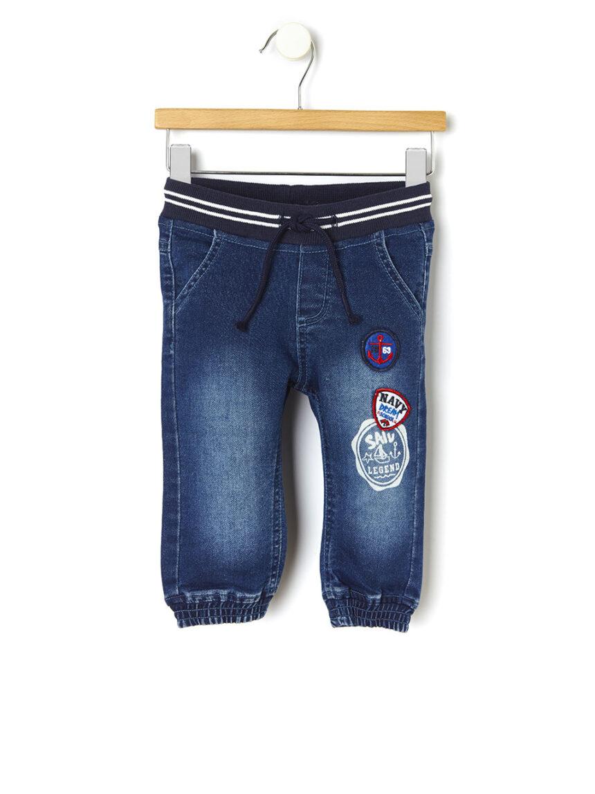 Calça jeans com patch - Prénatal