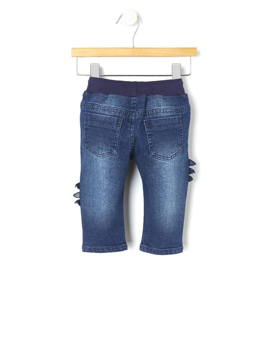Calça jeans com remendos de dinossauro - Prénatal