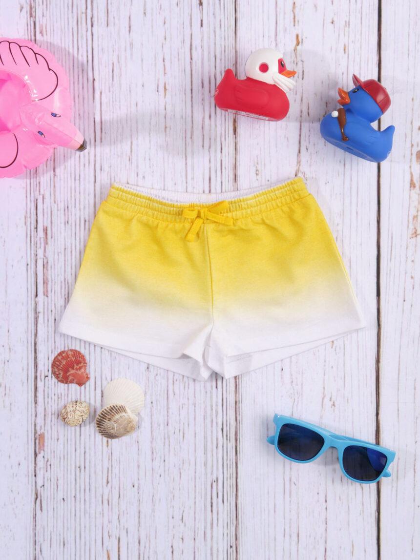 Shorts jersey amarelo / branco com efeito gradiente - Prénatal