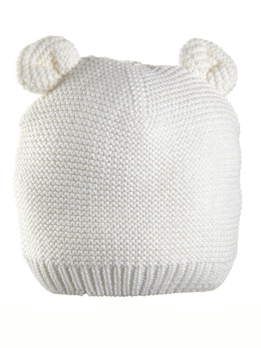 Chapéu tricot branco com orelhas - Prénatal