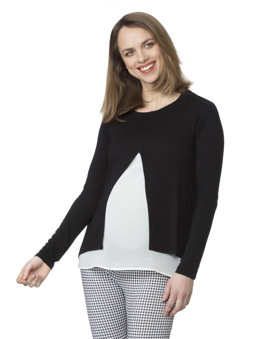 Camiseta de enfermagem preto e branco bicolor - Prénatal