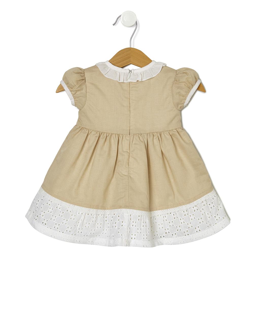 Vestido de linho com inserções de broderie anglaise - Prénatal