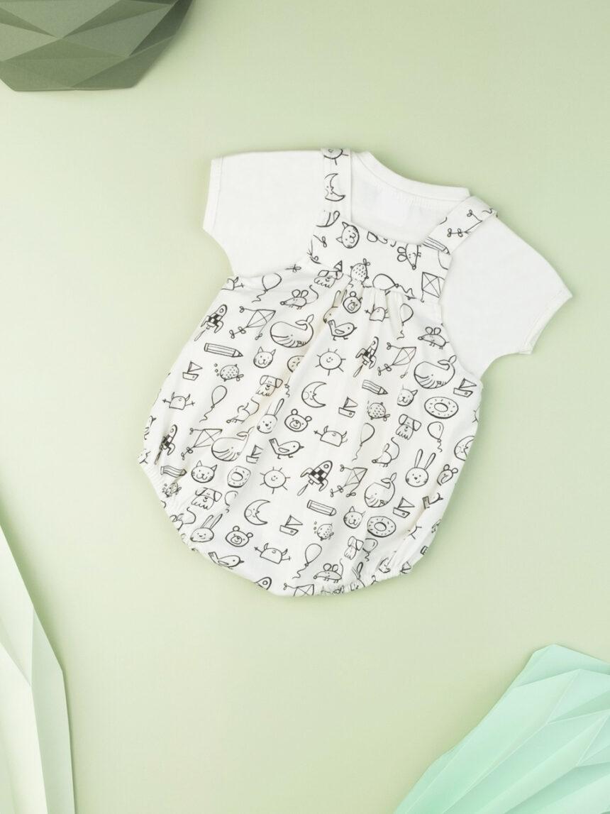 """Conjunto de macacão recém-nascido """"preto e branco"""" - Prénatal"""