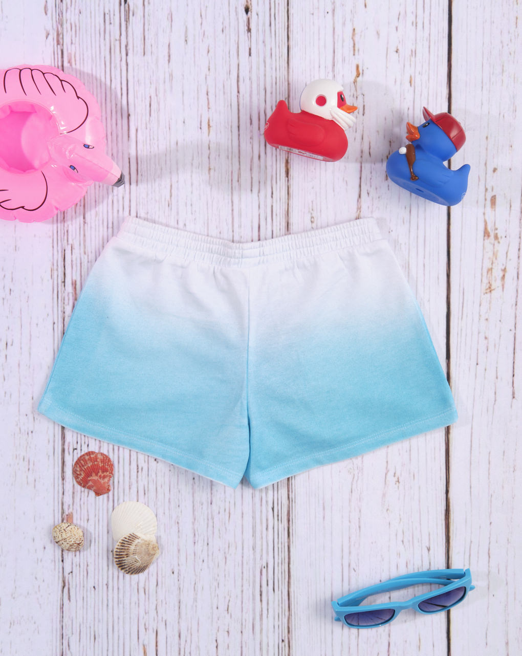 Shorts de jersey branco / azul claro com efeito gradiente - Prénatal