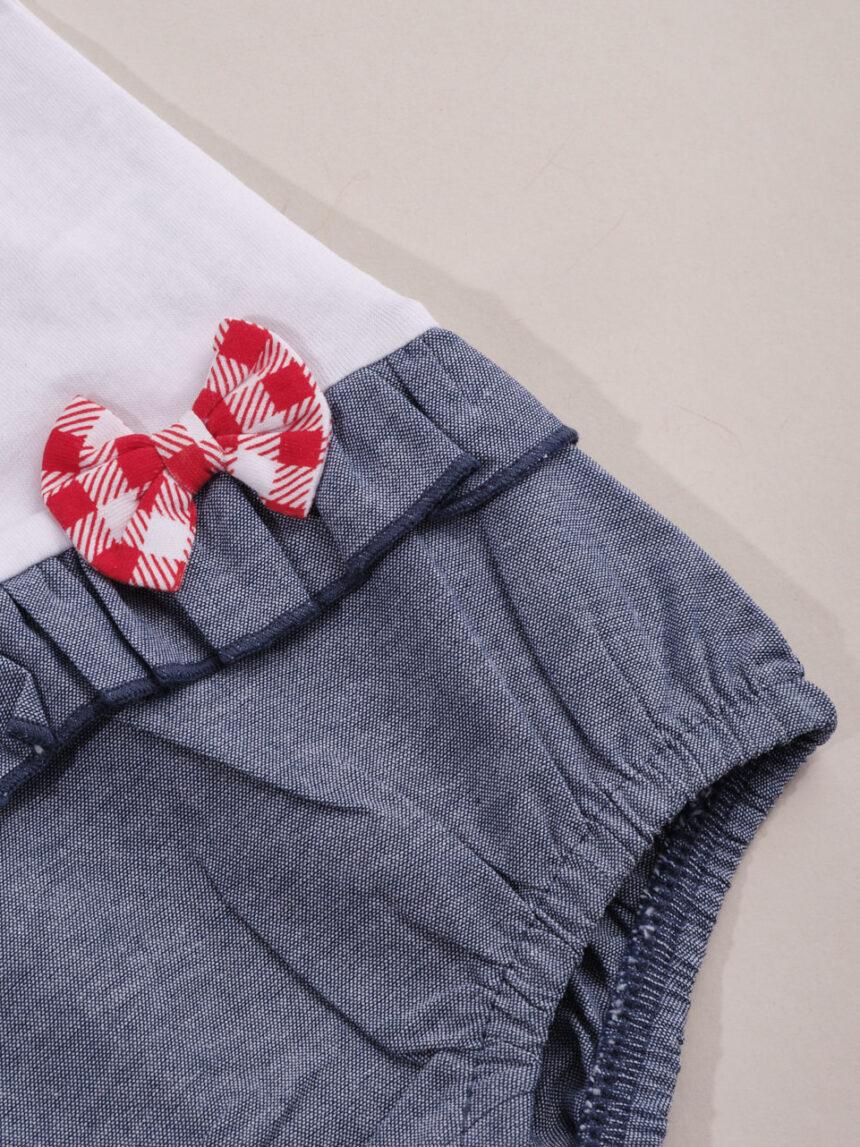"Macacão feminino ""teddy"", versão jeans azul - Prénatal"