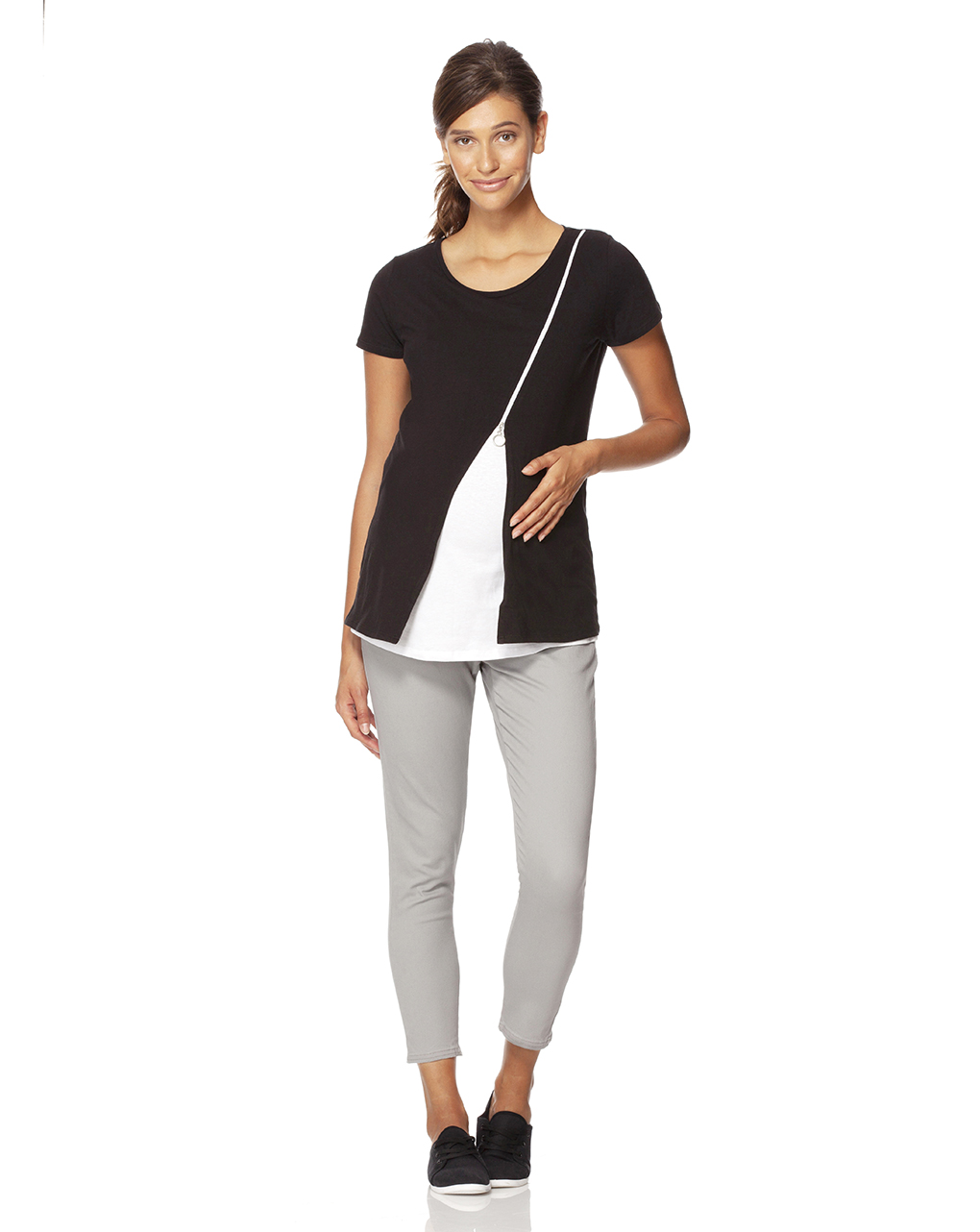 Camiseta preta e branca de amamentação com mangas curtas e zíper - Prénatal