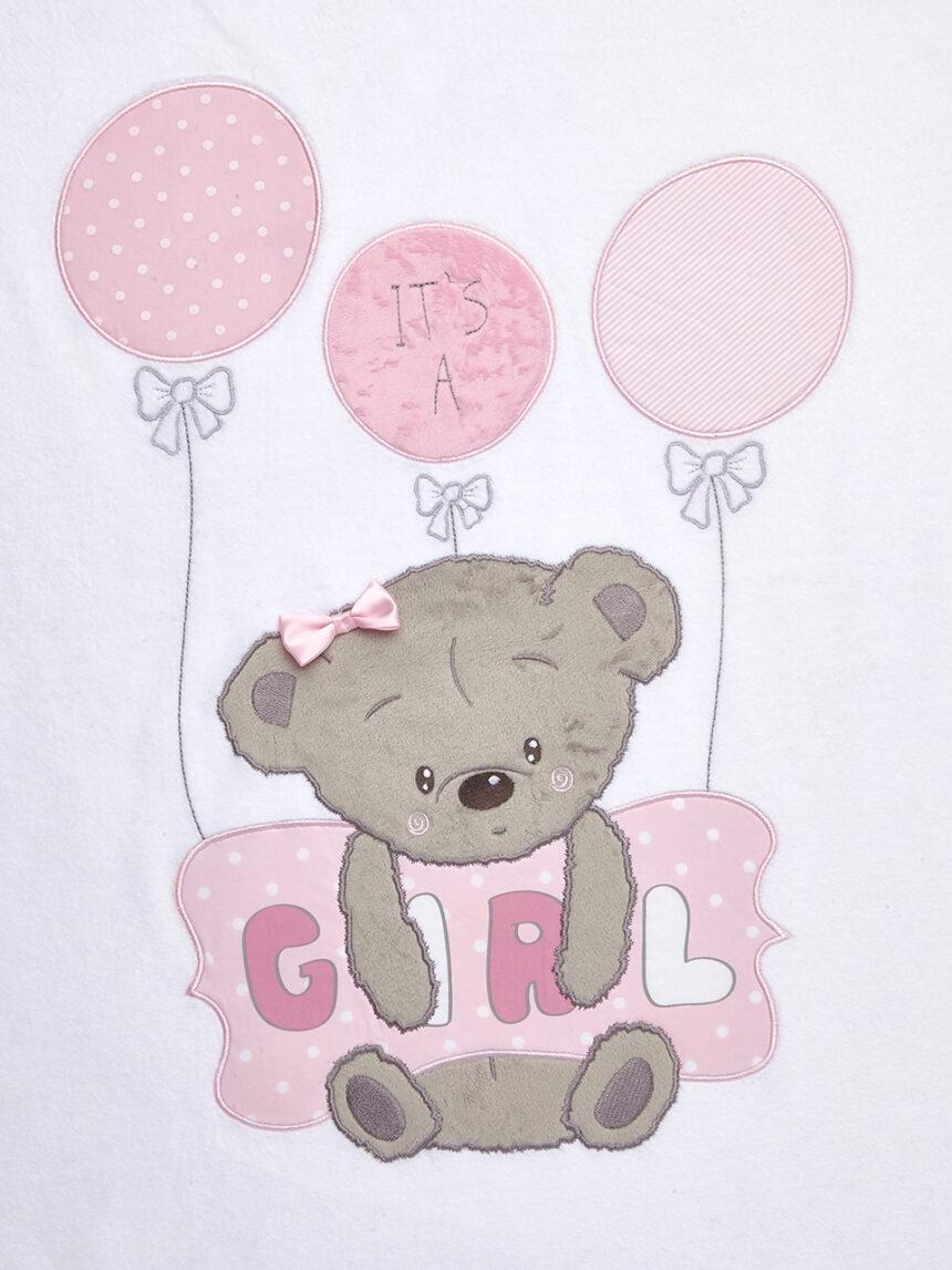 Berço / carrinho de bebê - manta de chenille com ursinho de pelúcia rosa e travesseiro e escrita de menina - Prénatal