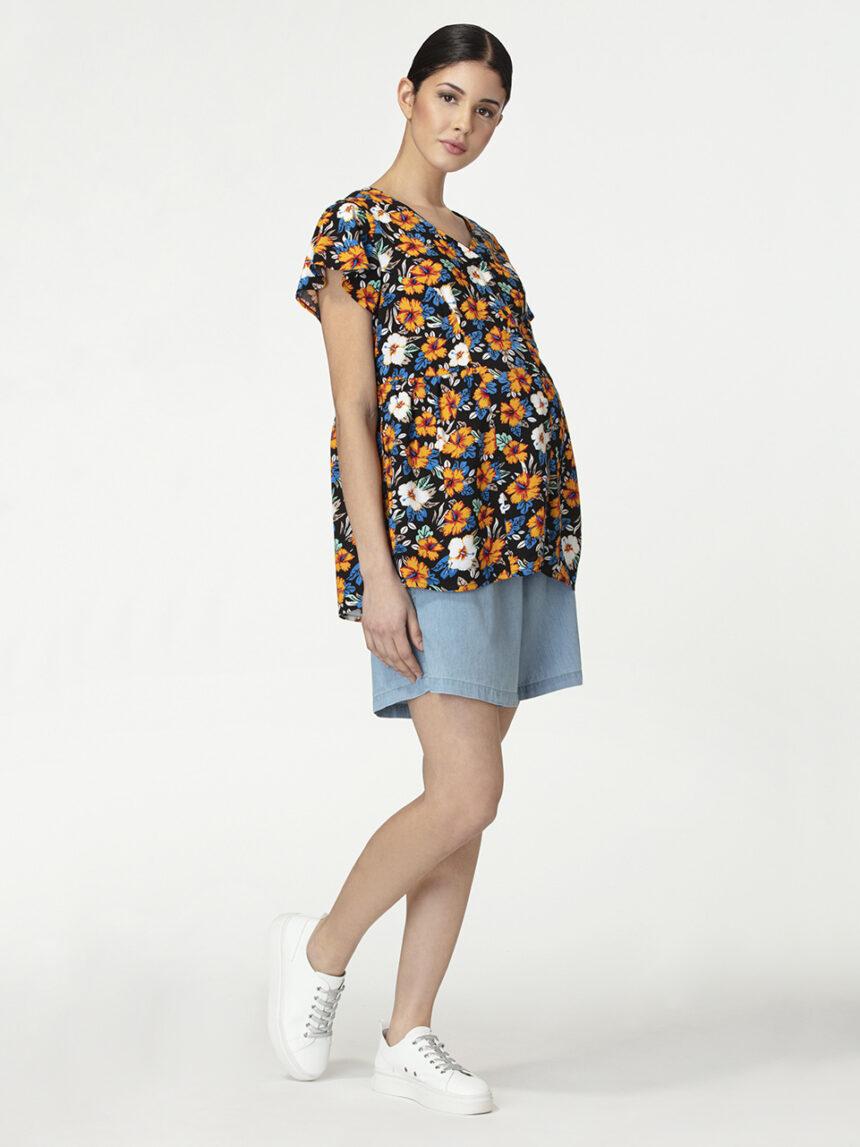 Blusa de enfermagem de mangas curtas com estampa floral - Prénatal