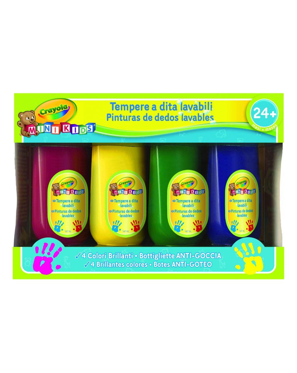 Crayola - 4 mini tintas para crianças laváveis aos dedos - Crayola