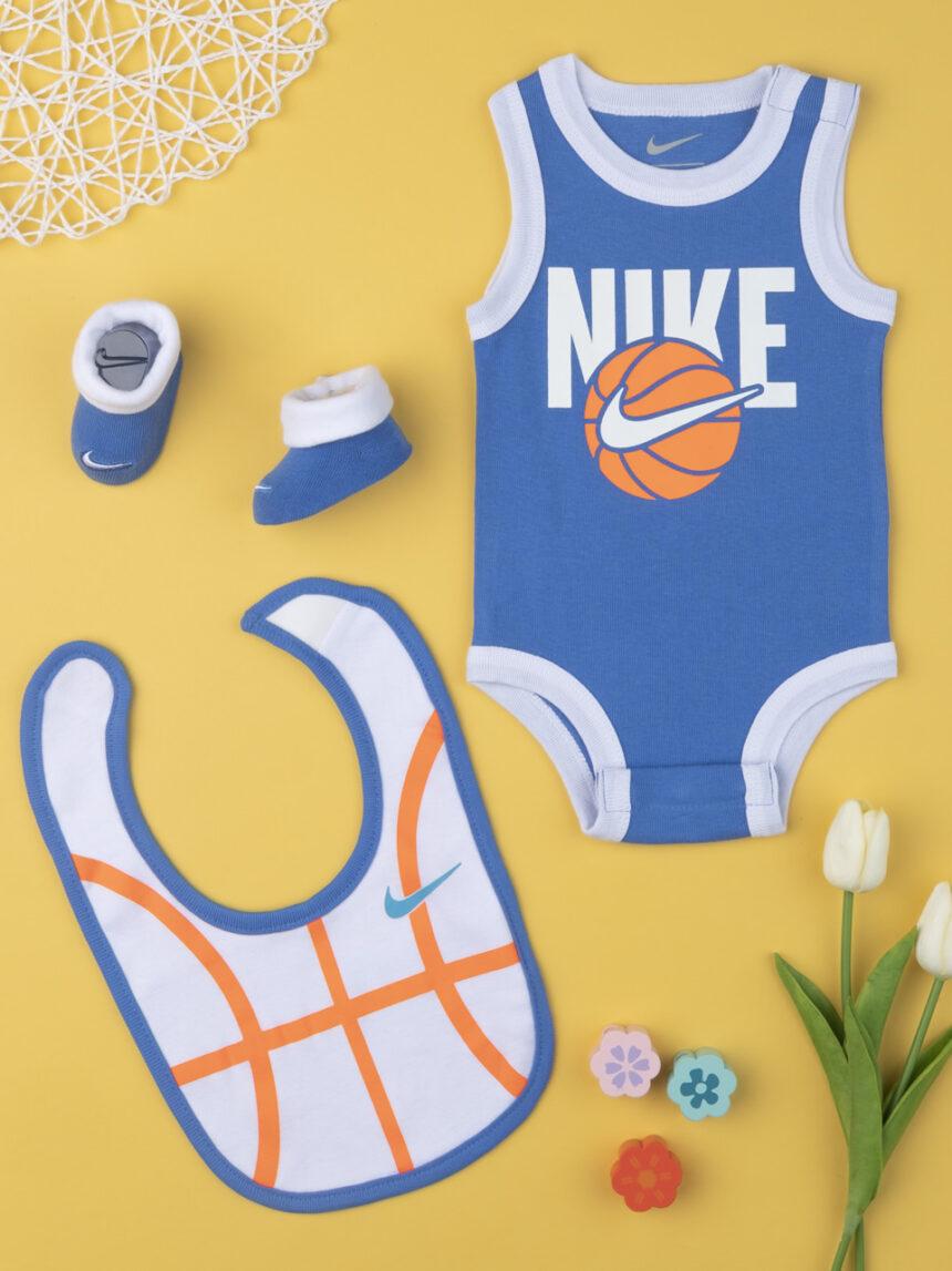 Nike boy body completo, babador e chinelos azuis e laranja 0-6 meses - Nike