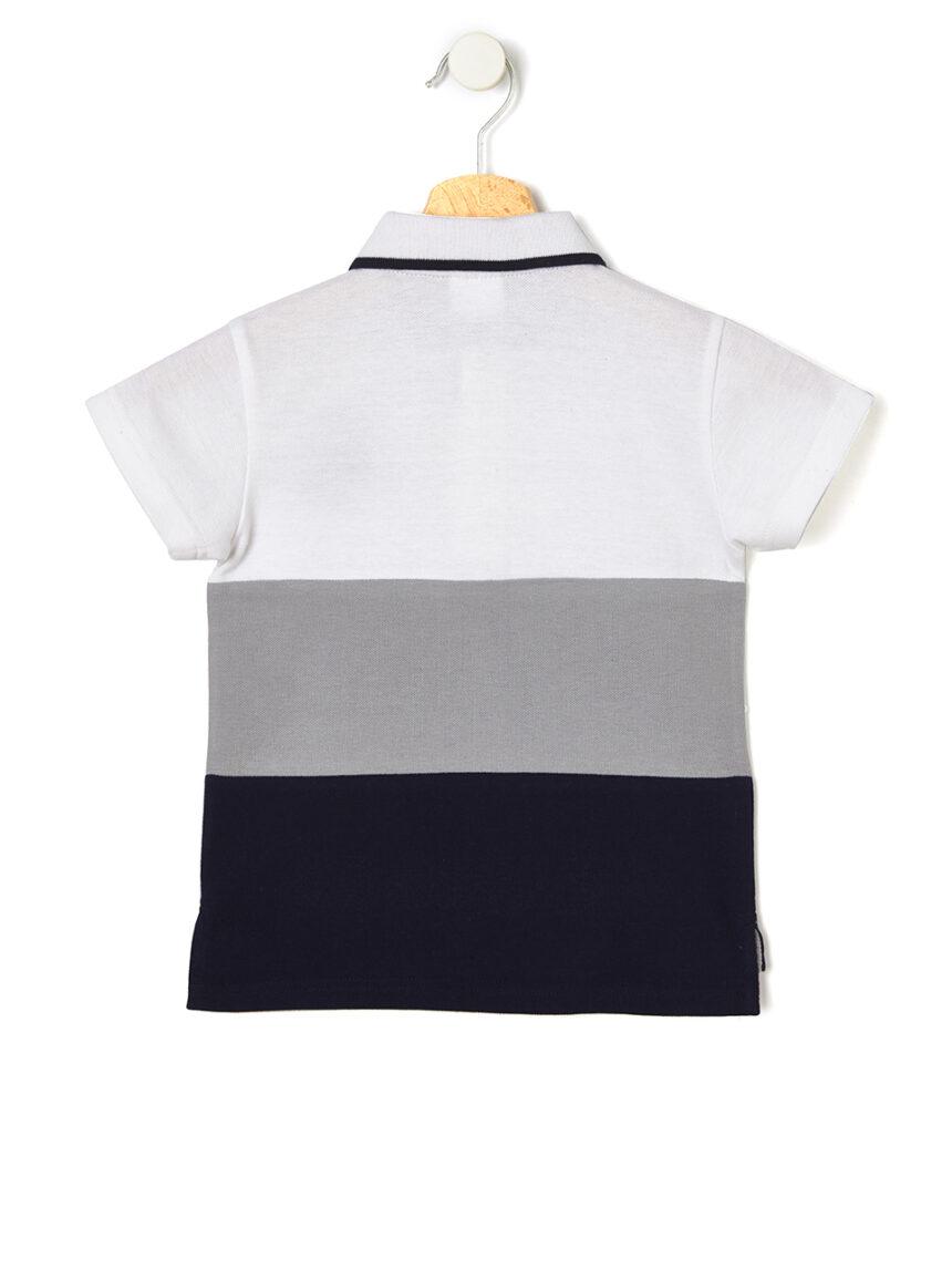 Camisa pólo tricolor em piquê - Prénatal