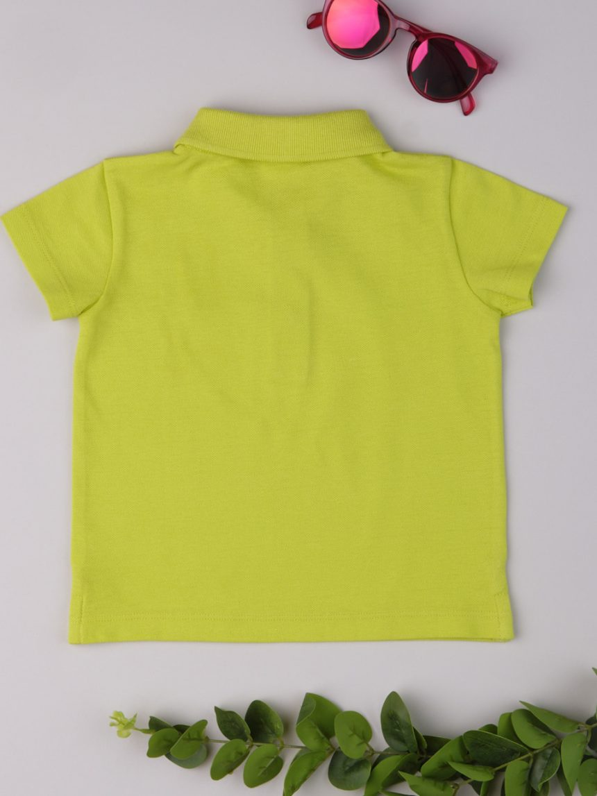 Camisa pólo masculina de cor sólida amarela - Prénatal