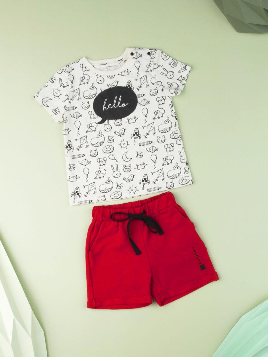 """Camiseta bebê menino """"olá"""" - Prénatal"""