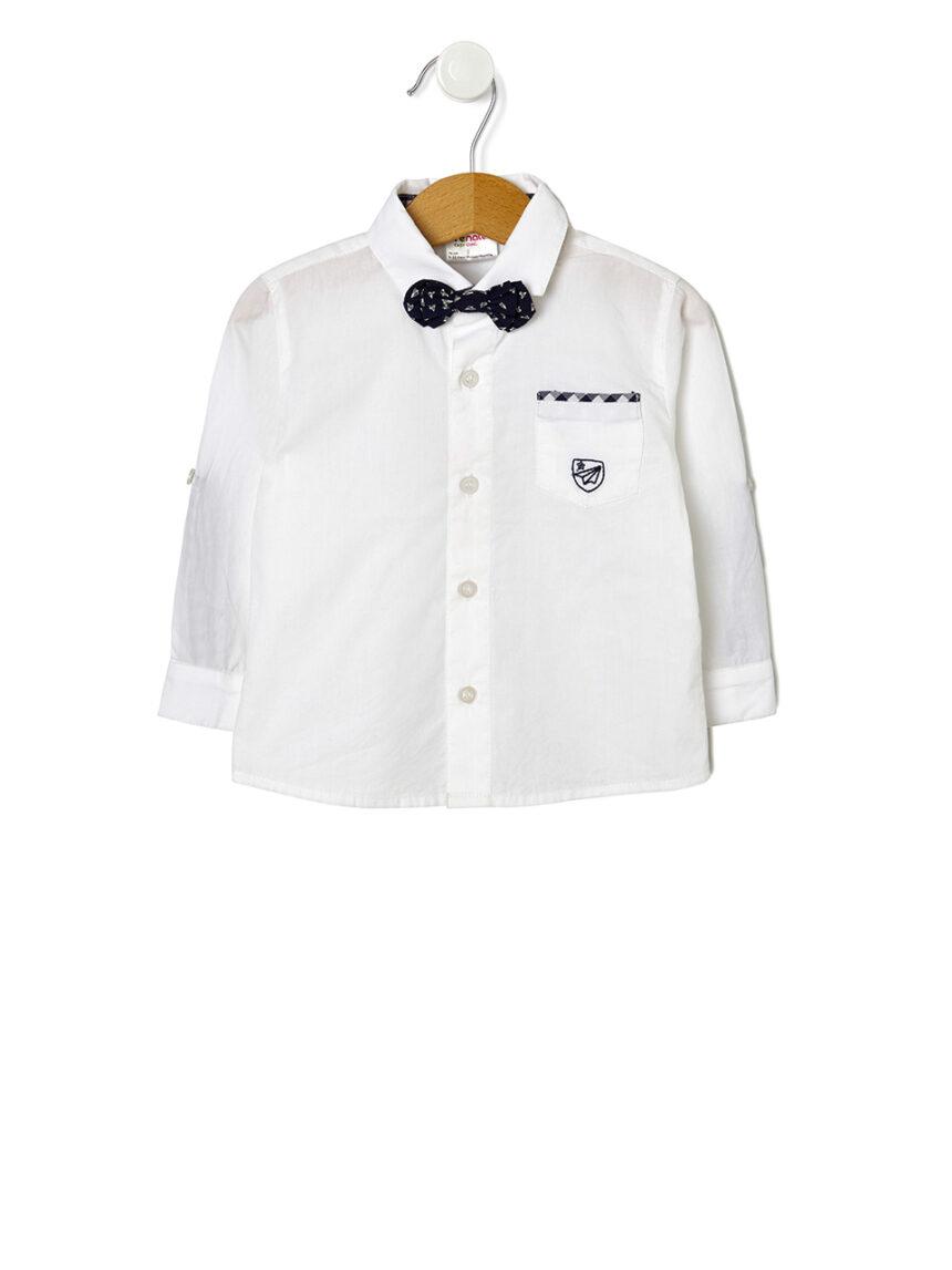 Camisa de manga comprida com gravata borboleta - Prénatal