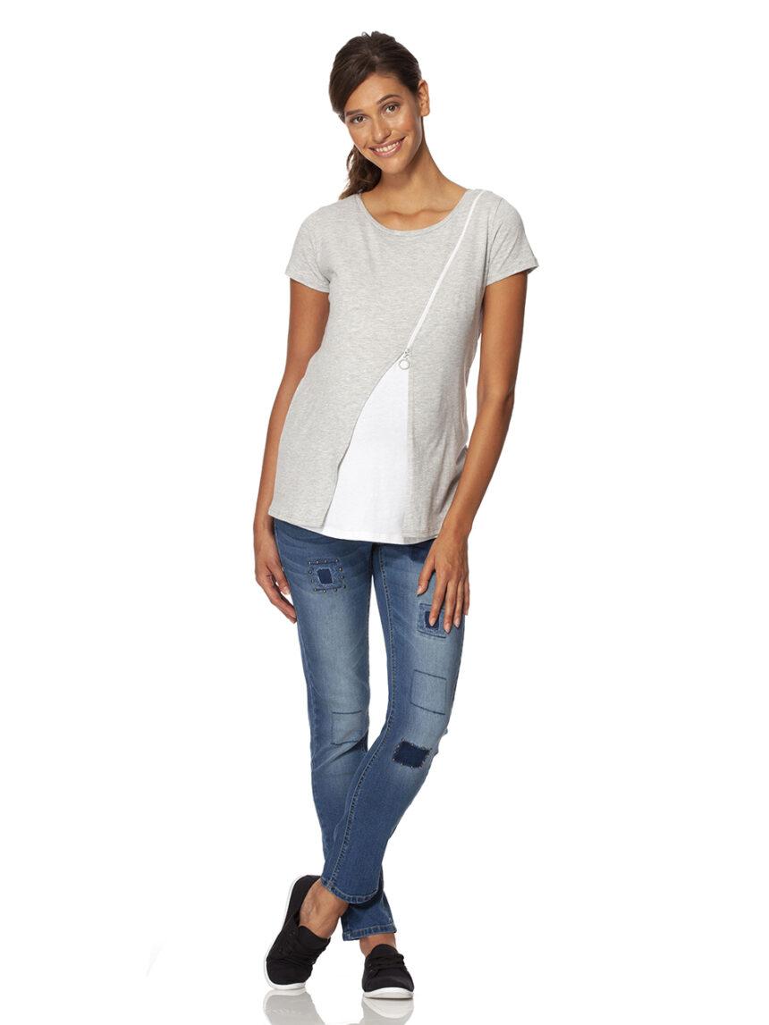 Camiseta cinza e branca de amamentação com mangas curtas e zíper - Prénatal