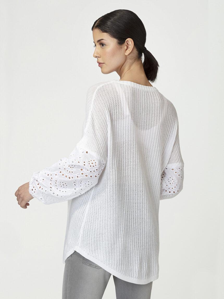 Suéter com mangas sangallo - Prénatal