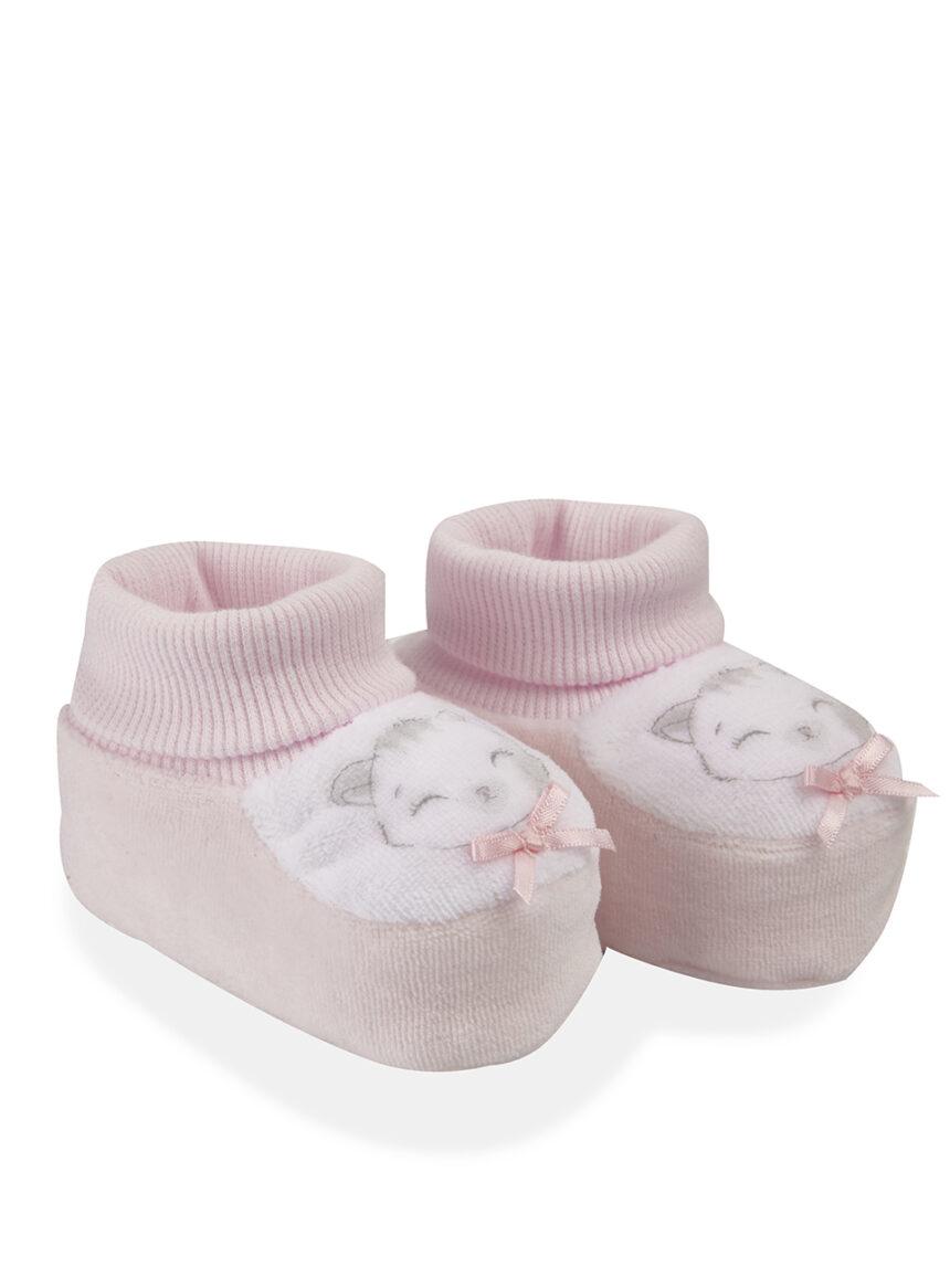 Chinelos de chenille rosa claro - Prénatal