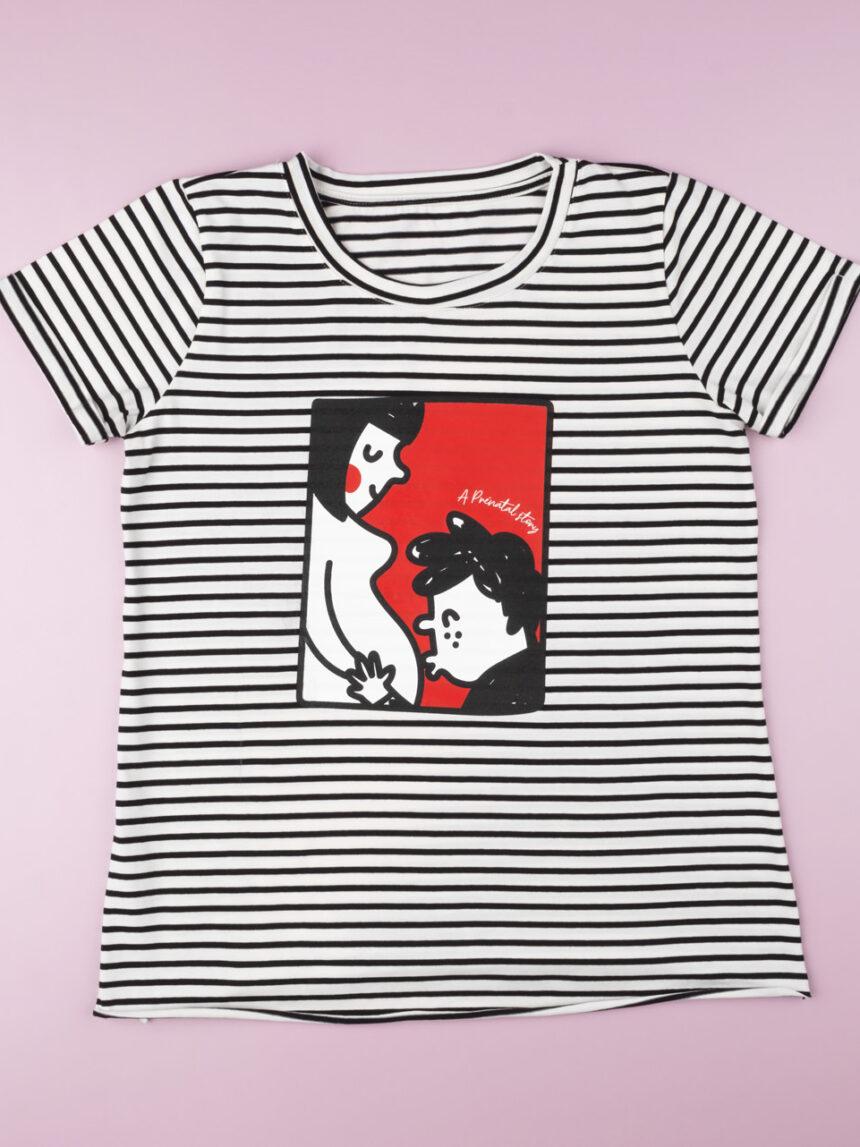 "Camiseta rigata ""preto e branco"" - Prénatal"