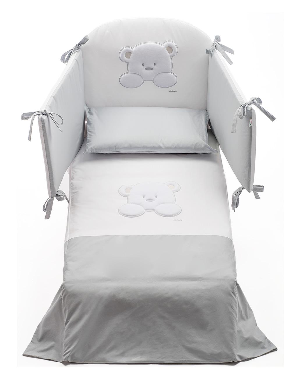 Conjunto de cama de pelúcia 4 peças para-choque-edredom-capa-fronha de edredom - italbaby
