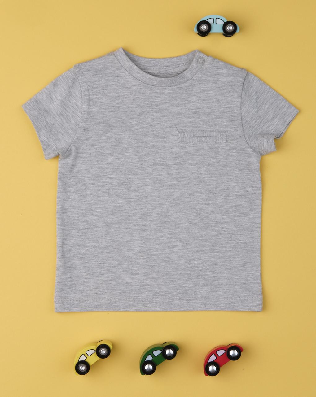 "Camiseta de bolso ""cinza"" para menino - Prénatal"