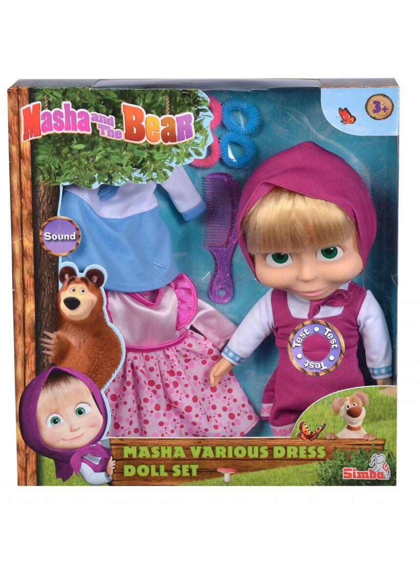 Masha e o urso - masha cm 30 com dois conjuntos de vestidos - Masha & Orso