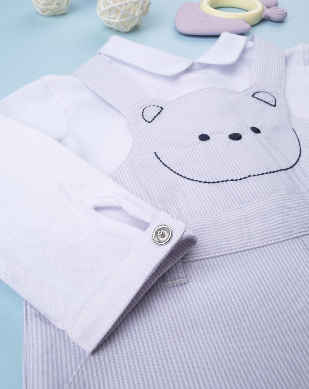 Barboteuse com bordado de urso - Prénatal