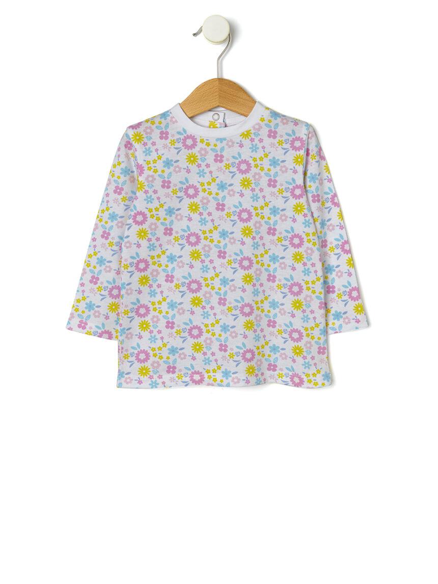 Camiseta básica com estampa de flores em toda a extensão - Prénatal