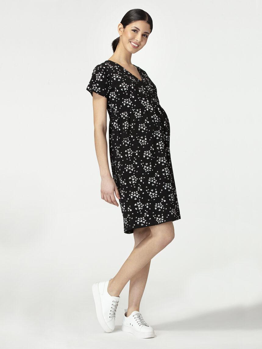 Vestido de amamentação para maternidade com estampa de flores brancas. - Prénatal
