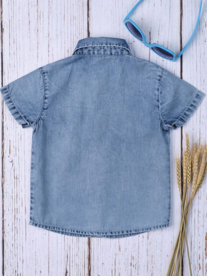Camisa jeans azul cambraia menino - Prénatal