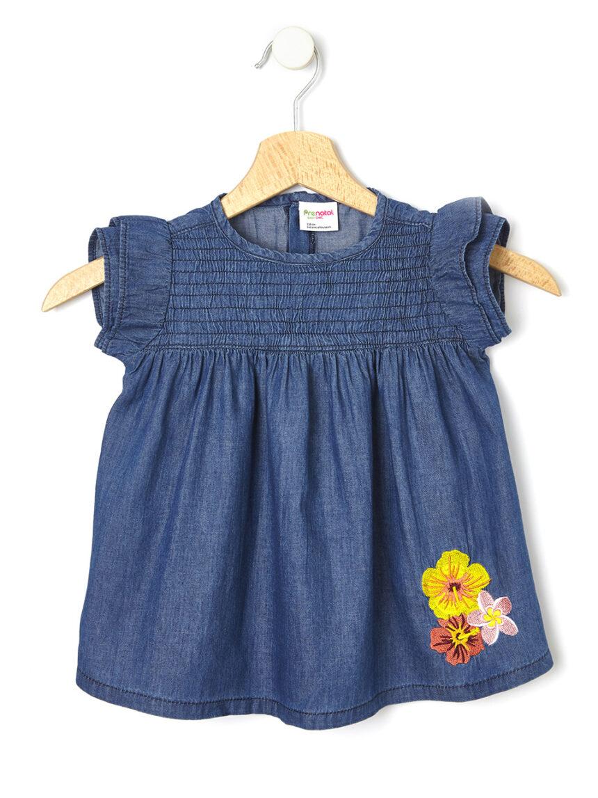 Camisa chambray com bordado de flores - Prénatal