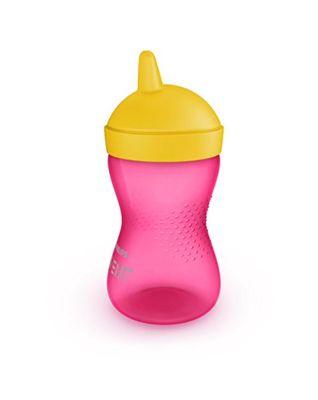 Minha caneca rosa aderente com bico duro amarelo avent - Avent