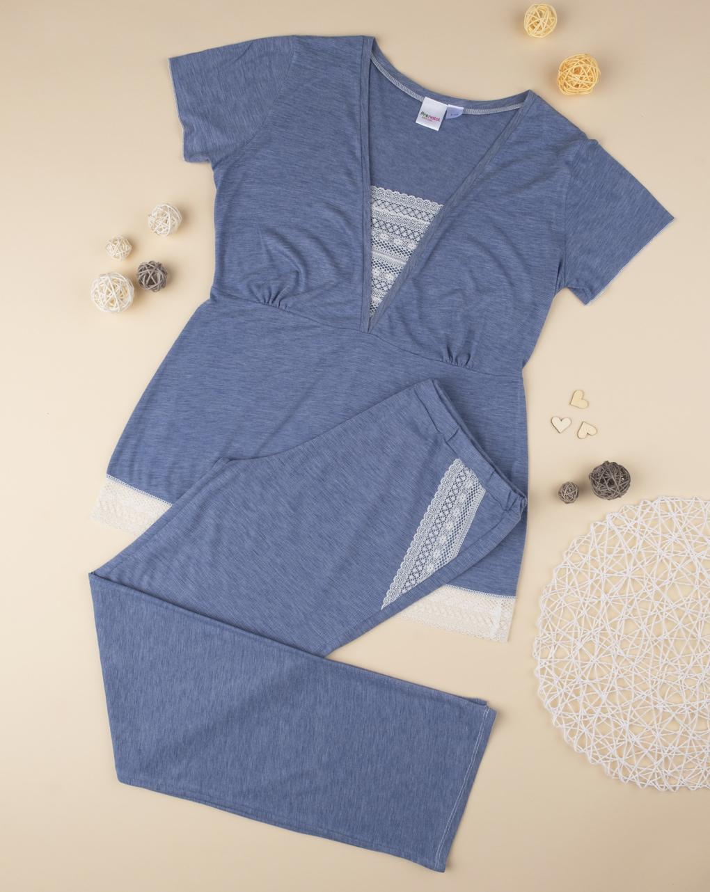 Pijama de maternidade com renda - Prénatal