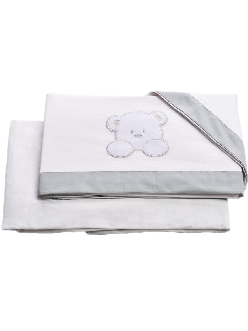 Conjunto de cama teddy 3 peças com lençol e fronha com lençol - italbaby