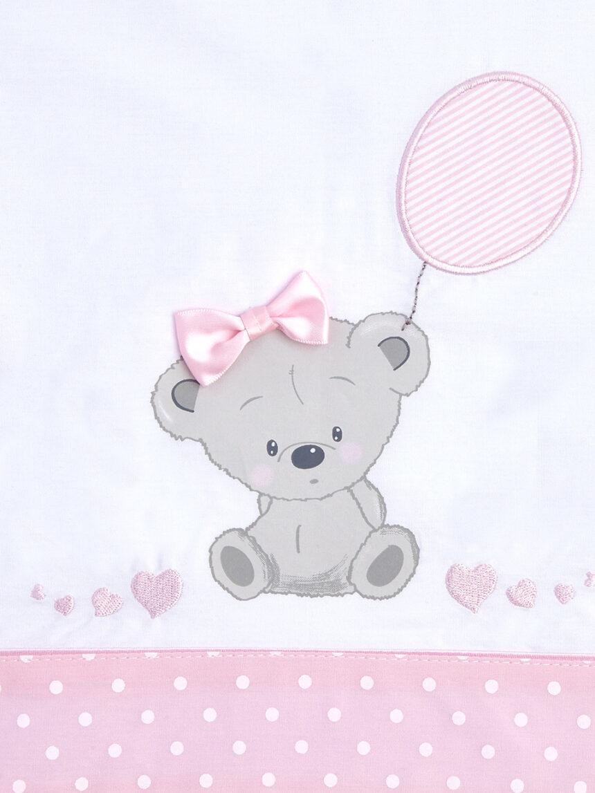 Berço / carrinho - berço completo e carrinho 3 peças com ursinho de pelúcia e corações rosa - Prénatal