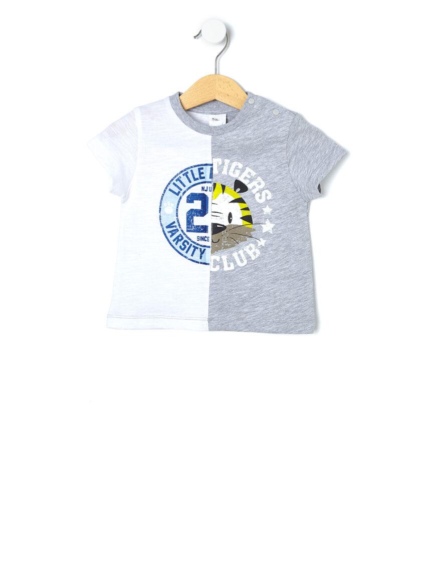 Camiseta bicolor com estampa - Prénatal