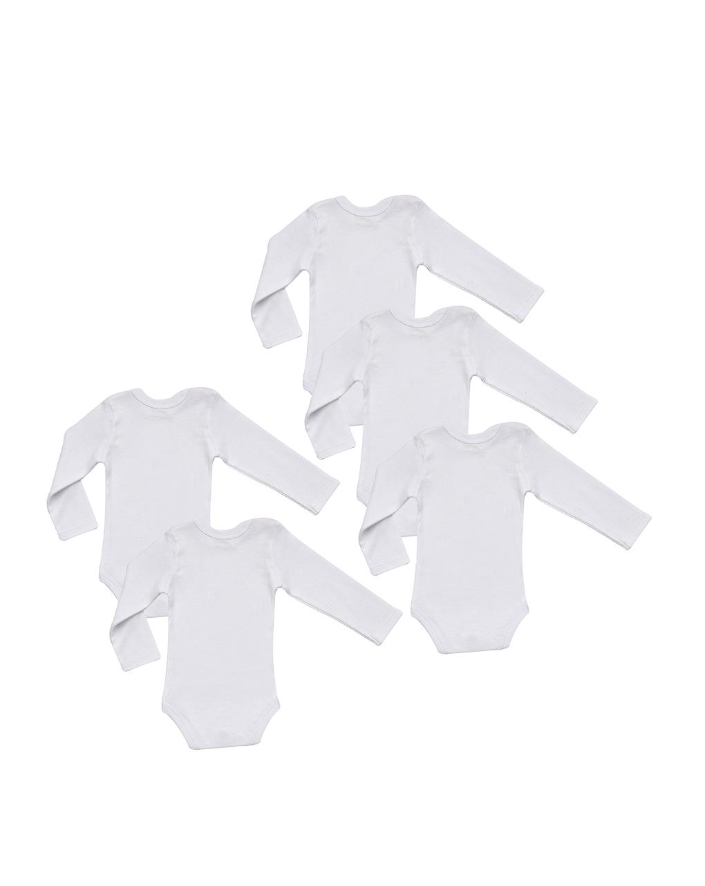 Pacote de 5 collant brancos com mangas compridas - Prénatal