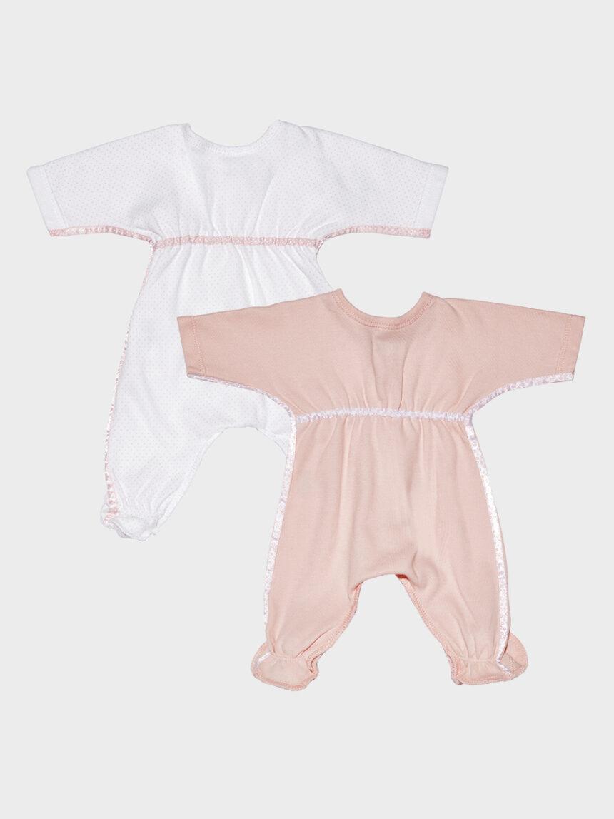 Pacote de 2 macacões extra-pequenos rosa bebê e bolinhas - Prénatal