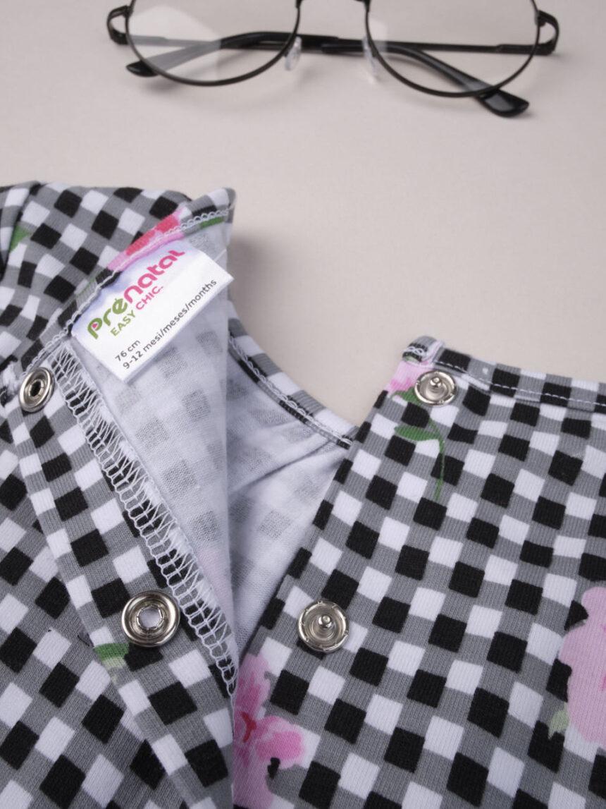 Vestido rosa xadrez de popelina - Prénatal