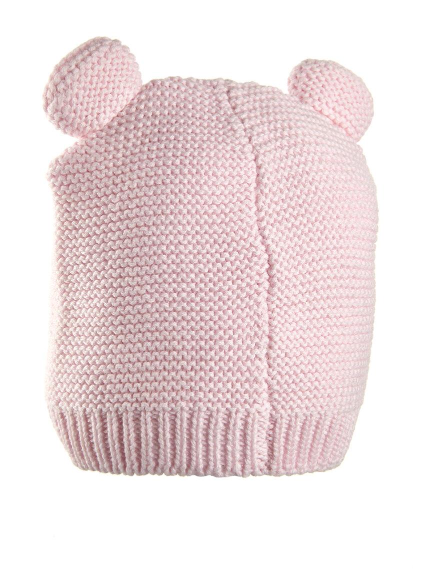 Gorro tricot rosa com orelhas - Prénatal