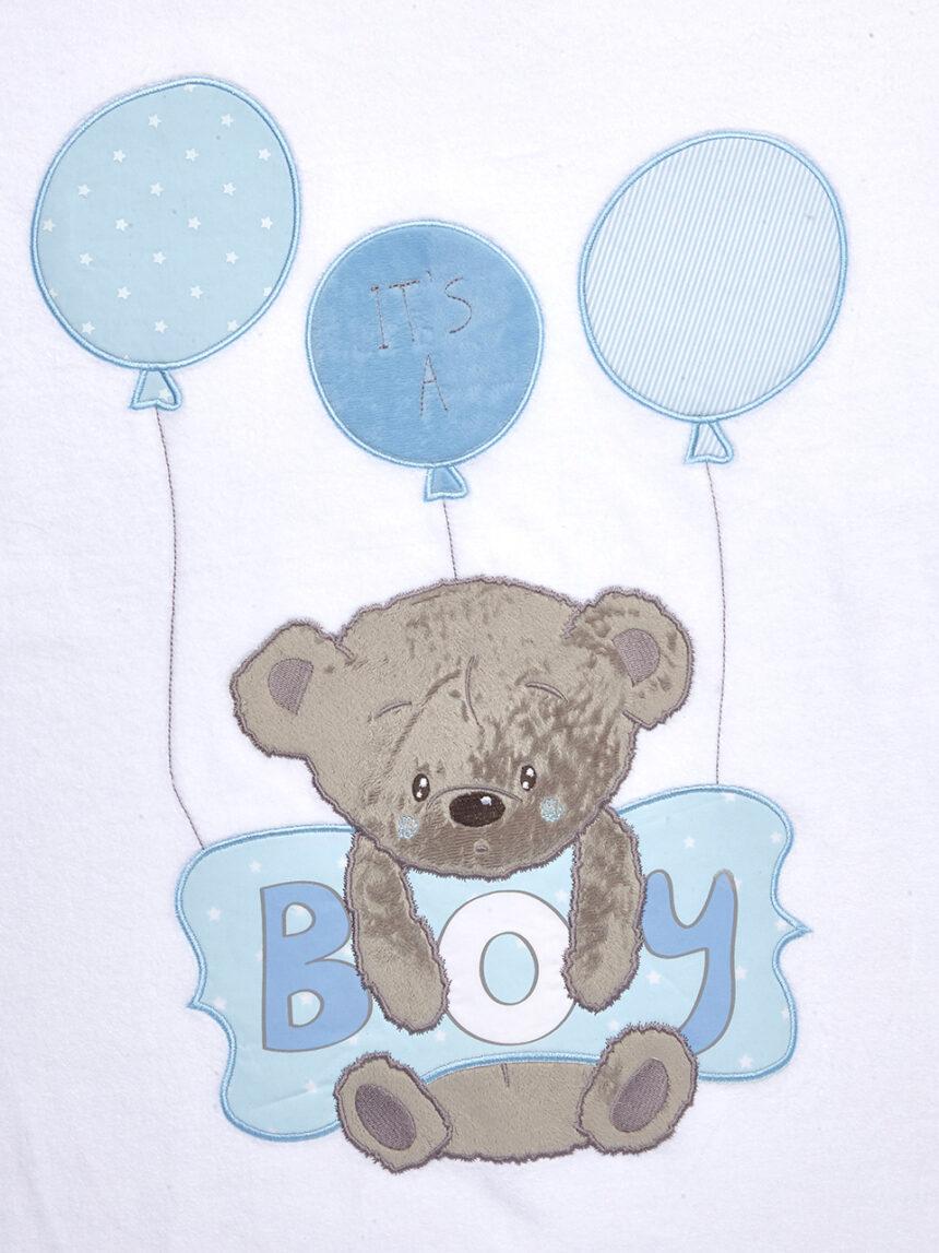 Berço / carrinho de bebê - manta de chenile com ursinho de pelúcia e travesseiro azul com escrita de menino - Prénatal