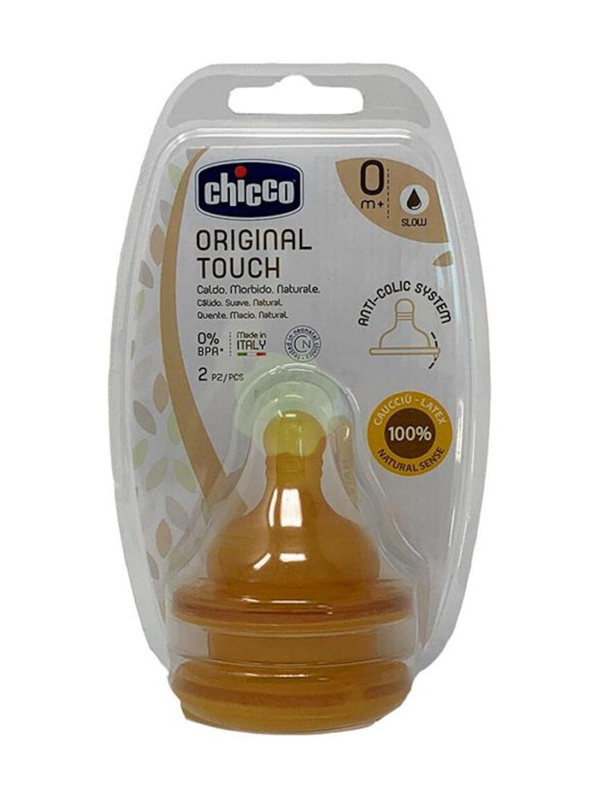 2 tetinas de toque originais 6m + borracha de fluxo lento - Chicco