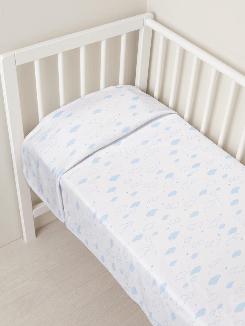 Berço - tampa interligada com nuvens azul bebê - Prénatal