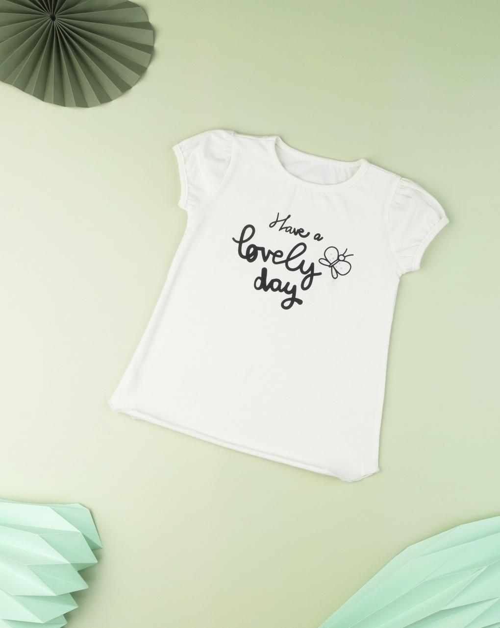 """T-shirt infantil menina """"tenha um lindo dia"""" - Prénatal"""