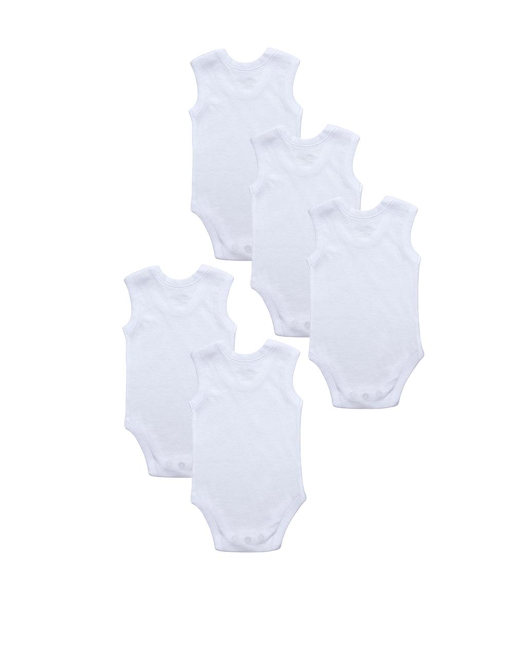 Pacote de 5 body tops brancos - Prénatal