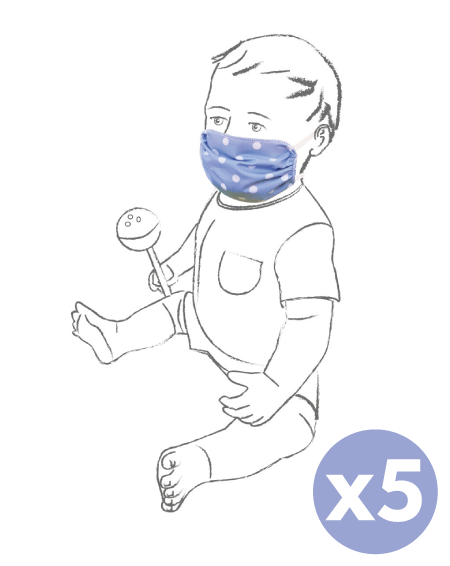 Máscara lavável para crianças para uso civil 5 peças - italbaby