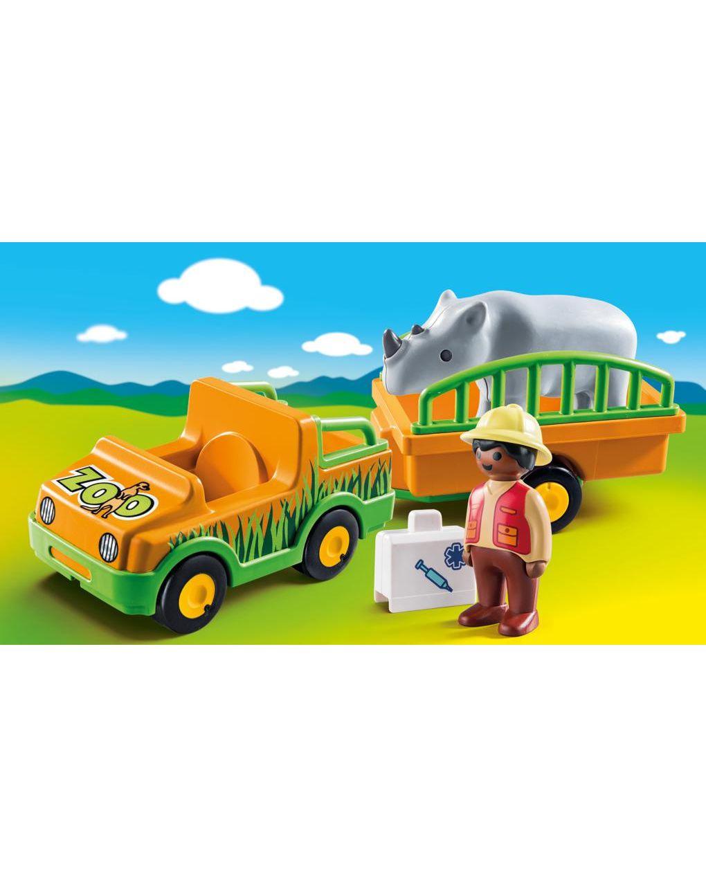 Playmobil - veículo zoológico com rinoceronte 1.2.3 - Playmobil