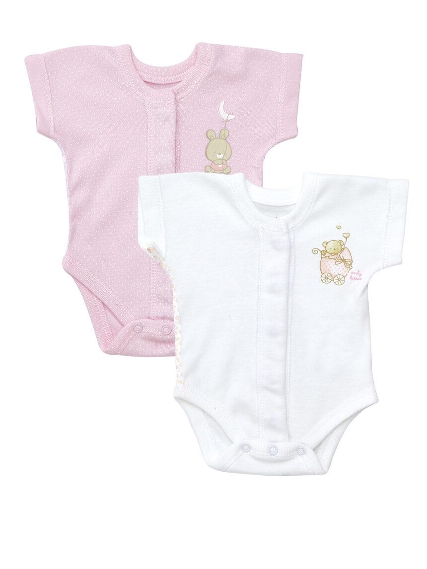 Pacote 2 corpo extra pequeno de mangas curtas rosa e branco com ursinhos de pelúcia - Prénatal